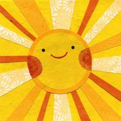 The most gorgeous sun by Kate Endle sun moon, hello sunshine, art, kid quilts, collag, papers, yellow, cut paper, sun rays