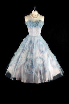 Vtg 50s Blue Tulle Swirl Ruffle Strapless  Dress