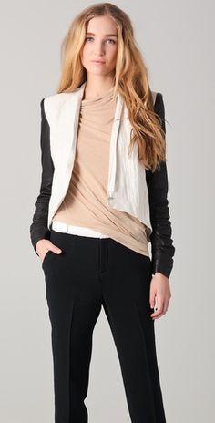 Helmut Lang leather sleeves jacket!