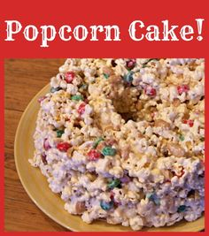 Popcorn Cake! #recipe - it's kind of just like Rice Krispy treats made with popcorn instead... with added goodies.  SO great!