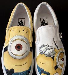 #minion shoes hand painted Despicable Me Shoes Slip-on Painted Ca,Slip-on Painted Canvas Shoes