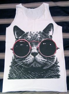 cats, glasses, cat glass, white shirts, tote bag, glass shirt, glass bag, cat red, red glass