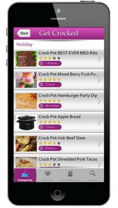 GetCrocked App - TONS of Crock Pot recipes for just $.99! Save favorites, print shopping list, and search by ingredient or by category. | #crockpot #recipes #technology #iphone #apps