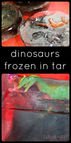 A little twist on the classic frozen dinosaur excavation!