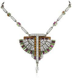 Deco Fan Pendant Necklace by Ben-Amun Jewelry