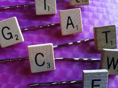 scrabble hair clips