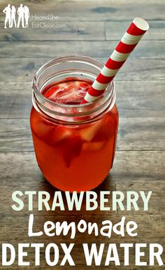 Think mocktail meets detox drink meets sweet lemonade in this recipe. Complete with apple cider vinegar to help shed water weight and detox the body, this strawberry lemonade detox water will quickly become a favorite drink when you are craving a sugary soda or even a syrupy sports drink! Grab the recipe at HeandSheEatClean.com #detox #applecidervinegar #acv #lemonade #strawberries #cleaneating #eatclean