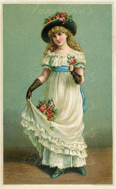 Victorian Girl Illustration  Instant Digital Download by AnnieGees, $3.50