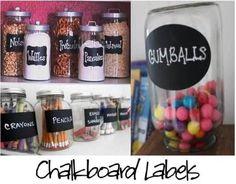 chalkboard labels. Now that's an idea....