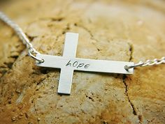 Sterling Cross Necklace  Hand Stamped by jjewelry1 on Etsy, $40.00