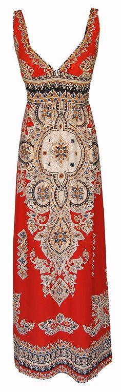 Orange Tribal Maxi Dress, $59.99