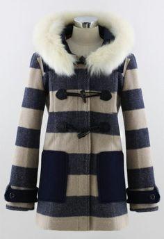 Navy Long Sleeve Fur Hooded Stripe Coat