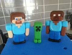 Minecraft cake toppers. Steve, Herobrine & a creeper made with homemade marshmallow fondant.