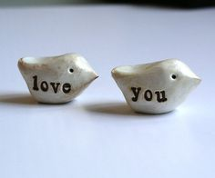 Love You Two handmade polymer clay birds  Word Birds  by SkyeArt, $14.00