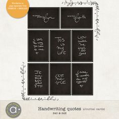 Free Handwriting Quotes {in French & English} Journal Cards from Simplement Scrap {on Facebook} via Quality DigiScrap Freebies