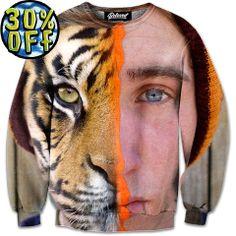 'Half Tiger' Wave Rider Sweatshirt by Beloved Shirts @waverider_