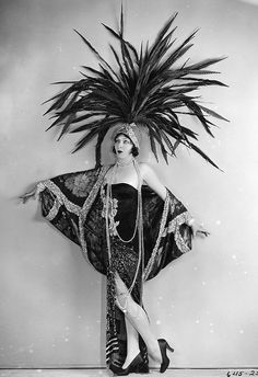 screen, 1920, showgirl, latest fashion, ziegfeld folli, headpieces, vintage costumes, feather, art deco