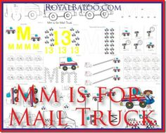 Mm Mail Truck - Free Printable.  Part of Zoomin Moving ABCs for Toddlers and Preschoolers