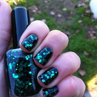 "Nail polish - ""Black forest"" emerald green glitter in a black jelly base"