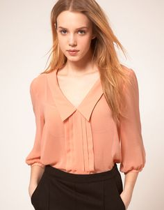 ASOS blouse with pintuck and 3/4 sleeves