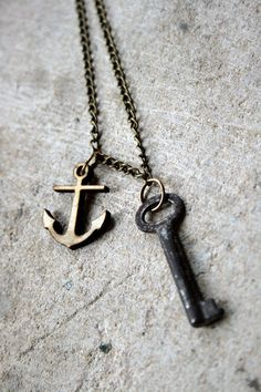nautical wooden anchor  vintage key necklace