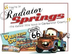 "Radiator Springs - Project Life Filler Card - Scrapbooking. ~~~~~~~~~ Size: 3x4"" @ 300 dpi. This card is **Personal use only - NOT for sale/resale** Clipart/pictures belong to Disney. Fonts are MBScribbles www.dafont.com/mbscribbles.font , Chopin Script www.dafont.com/chopin-script.font and Kelvinized www.dafont.com/kelvinized.font"