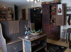 cabinets, primit style, benches, primit antiqu, primit decor, primitive antiques, hous, settl bench, countri