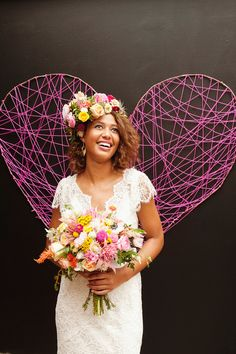 Make a giant string backdrop wrapped around a wire frame! Sweet Monday Photography @Judy Womble blooms http://ruffledblog.com/late-summer-citrus-inspiration/