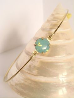 Pacific opal faceted crystal bangle  Mint crystal by Cecileis, $11.00