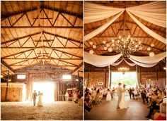 This California barn was transformed into an elegant wedding venue with drapery, paper lanterns, chandeliers, and twinkling lights