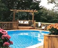 Above Ground Pools Decks Idea | Above Ground Pools Decks Idea...love the swing. | Outdoors 2