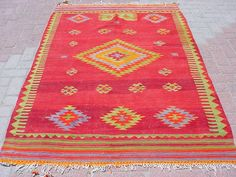 "VINTAGE Turkish Kilim Rug Carpet, Handwoven Kelim Rug,Antique Kilim Rug,Decorative Kilim, Natural Wool  51,5"" X 77,9"""