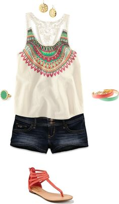 Summer tribal print tank and short outfits