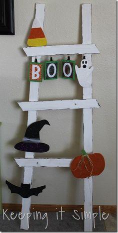 DIY Halloween Ladder decor