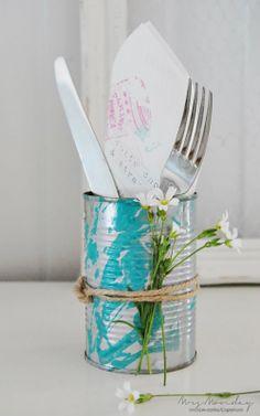 DIY- Marbled tin can vase
