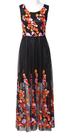 Black Sleeveless Embroidered Lace Flowers Maxi Dress