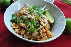 gluten free pad thai, food, chicken pad