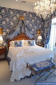 interior, romantic bedrooms, guest bedrooms, toil bedroom, home decor bedroom, blue bedrooms, luxury bedrooms, white bedrooms, toile de jouy