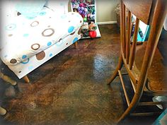 4 You With Love: Paper Grocery Bags, Elmers Glue, Rit Dye & Polyurethane = Fabulous Floor! You're Kidding, Right?