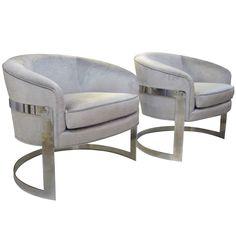 Pair of Milo Baughman Tub Chairs  usa  1970's  Pair of Milo Baughman tub chairs with aqua silver fabric.
