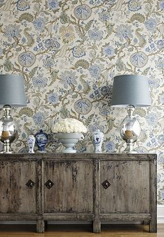 Love this combo of rustic with the ornate schumacher wallpaper