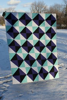 "I love this HST layout and color scheme. ""Alexia's Birthday Quilt"" by Rebekah of Don't Call Me Becky."