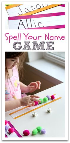 name games, spell your name game, letter recognition, preschool lessons, spelling games