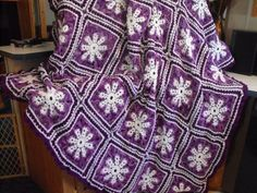"From fan Jeanne Gordon: ""Snowflake throw I just finished"""