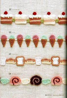 FREE Crocheted Cake, Sweets and Ice Cream Garland or Edging Crochet Pattern (click on right arrow to get to free chart)