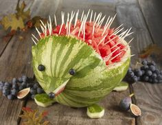 What a cute way to carve a watermelon.