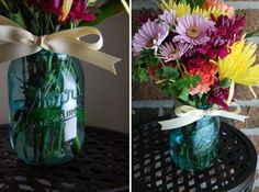 This would give more of a vintage look than regular paint - Bridal Buzz: Glass jars turned vintage