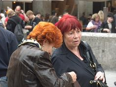 Older women with unnaturally red hair
