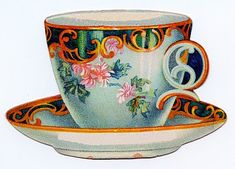 Vintage Clip Art - Cute Tea Cup Trade Card