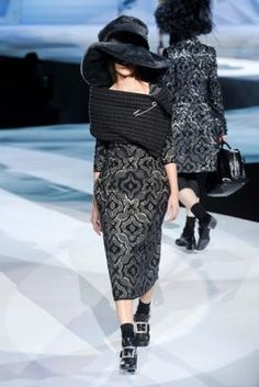 love Marc Jacobs' enormous scarf & pin and enigmatic hat - all Zinfandel